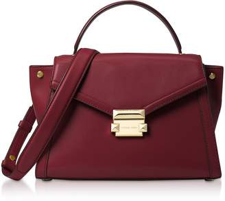 Michael Kors Oxblood Leather Whitney Medium Top-Handle Satchel Bag