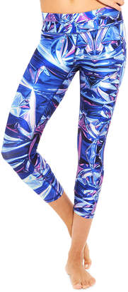 Terez High-Rise Iridescent Foil-Print Capri Leggings
