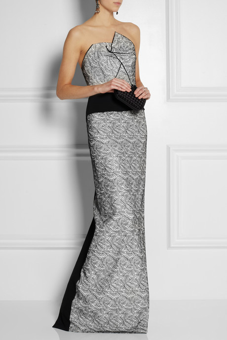 Roland Mouret Tarazed stretch-crepe and lace gown