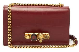 Alexander McQueen Crystal Embellished Leather Cross Body Bag - Womens - Burgundy