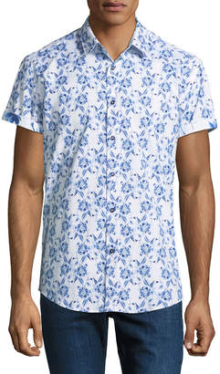 1 Like No Other Classic-Fit Cherry-Toile Short-Sleeve Sport Shirt