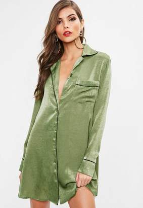Missguided Khaki PJ Shirt Dress