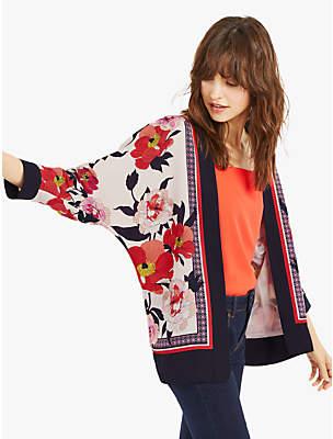 Oasis Floral Scarf Print Kimono Jacket, Multi/Natural