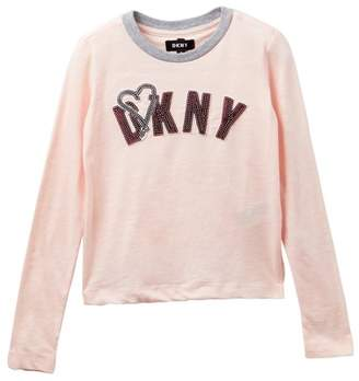 DKNY Long Sleeve Sequin Tee (Big Girls)