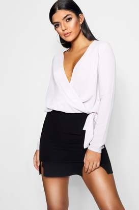 boohoo Lucy Wrap Over Blouse