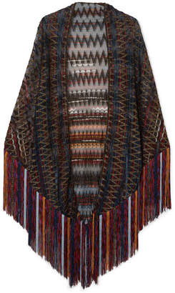 Missoni Fringed Metallic Crochet-knit Wrap - Black