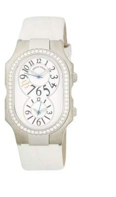 Philip Stein Teslar Signature Dual-Time Stainless Steel, Diamond & Leather-Strap Watch