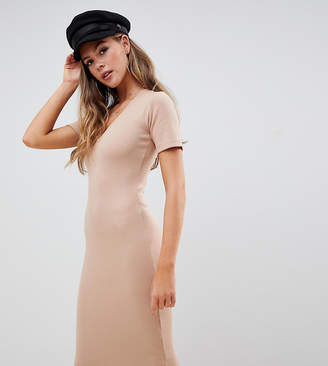 Missguided exclusive ribbed short sleeve v neck midi dress in beige
