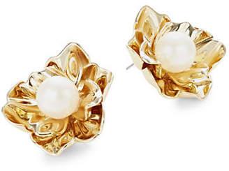 Kate Spade Faux Pearl Floral Statement Stud Earrings