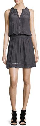 Ramy Brook Brittany Studded Blouson Dress, Gunmetal $395 thestylecure.com