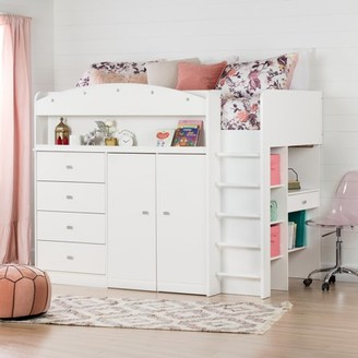 South Shore Furniture South Shore Tiara White Twin Loft Bed with Desk (39'')