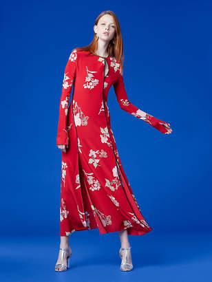 Diane von Furstenberg Long-Sleeve Paneled Bias Floor-Length Dress