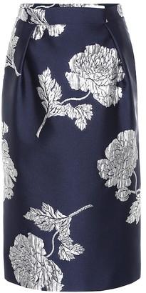 Alexander McQueen Brocade silk-blend pencil skirt
