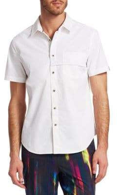 Saks Fifth Avenue x Anthony Davis Mixed Media Mesh Detail Button-Down