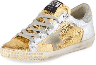 Golden Goose Superstar Studded Metallic Leather Low-Top Sneakers