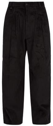 Bless Wide Leg Cotton Blend Corduroy Trousers - Mens - Black