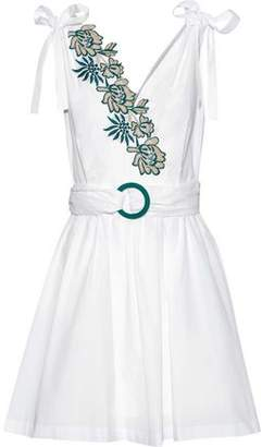Sandro Belted Embroidered Cotton-Poplin Mini Dress