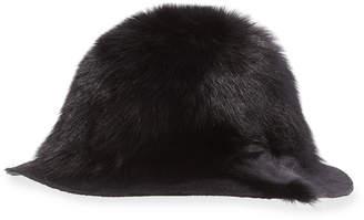 Neiman Marcus Gigi Burris Arden Fox-Fur Wide-Brim Hat, Black