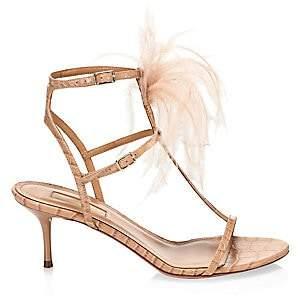Aquazzura Women's Ponza Feather & Embossed Leather Sandals