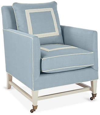 Brentwood Club Chair - Light Blue/Ivory Linen - Mark D. Sikes