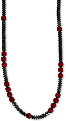 """King Baby Studio Men's Hematite (4mm) & Glass Bead 22"""" Statement Necklace in Sterling Silver"""