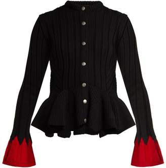 Alexander Mcqueen - Peplum Hem Wool Blend Cardigan - Womens - Black Red