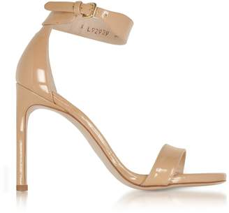 Stuart Weitzman Backup Tiz Adobe Aniline Nude Patent Leather Sandals