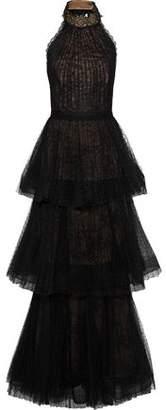 Marchesa Tiered Point D'esprit-Lace Halterneck Gown