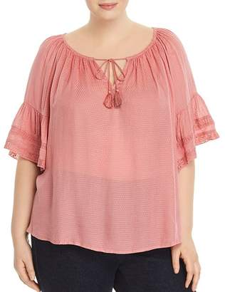 Lucky Brand Plus Bell-Sleeve Peasant Top