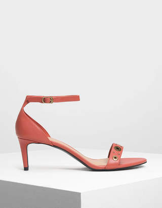 Charles & Keith Grommet Detail Heeled Sandals