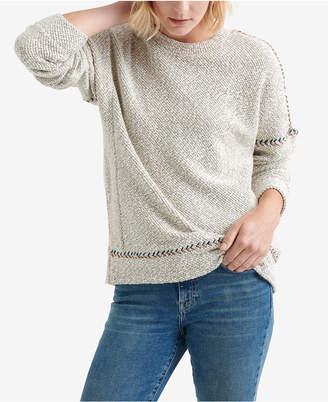 Lucky Brand Embroidered Trim Textured Sweater