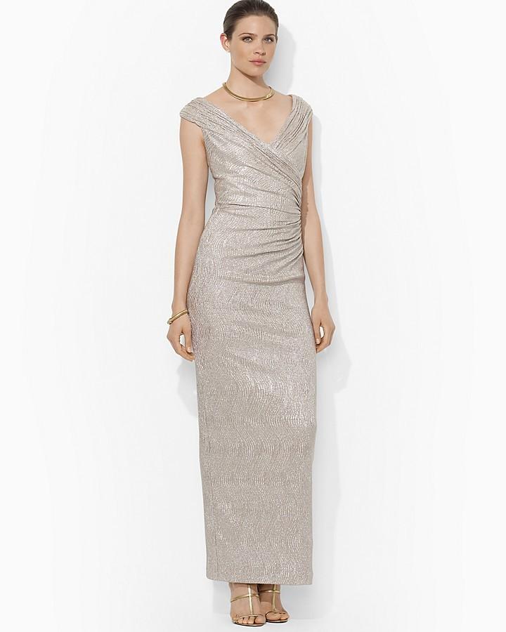 Lauren Ralph Lauren Cap Sleeve Metallic Knit Gown