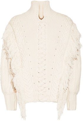 Oversized Fringed Cable-knit Cotton-blend Sweater - Off-white