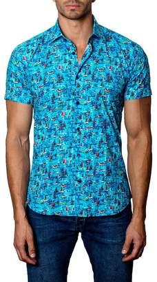 Jared Lang Woven Sailboat Trim Fit Shirt