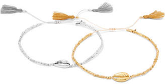 Chan Luu Set Of Two Tasseled Gold-plated, Silver And Cord Bracelets