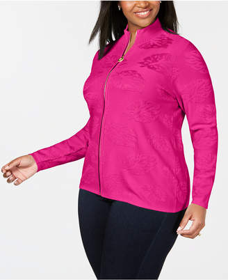 Belldini Plus Size Leaf-Jacquard Zippered Sweater