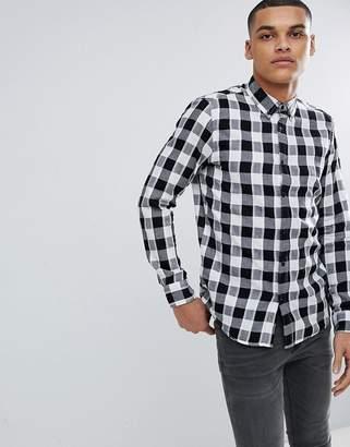 Pull&Bear Regular Fit Poplin Shirt In Black And White Check