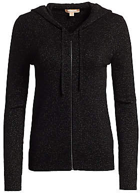 Michael Kors Women's Sparkle Lurex Knit Zip-Up Hoodie