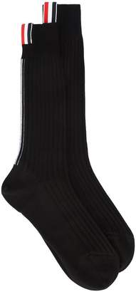 Thom Browne Ribbed Mid Calf Sock With Red, White And Blue Vertical Stripe In Fine Merino Wool