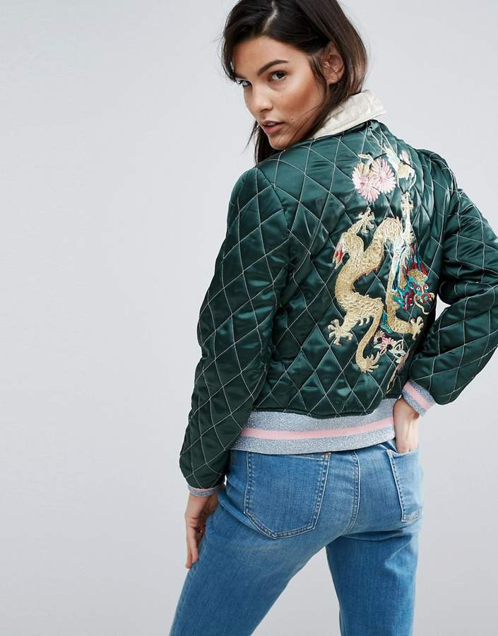 ASOS Premium Quilted Bomber Jacket With Dragon Embroidery