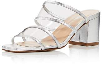Charles David Women's Cally Leather Illusion Block Heel Slide Sandals