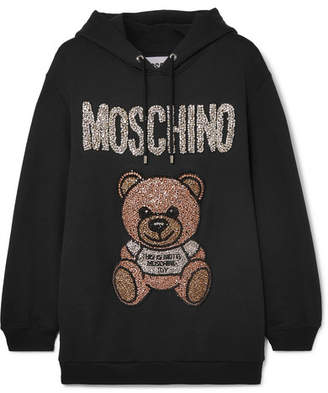 Moschino Oversized Crystal-embellished Cotton-jersey Hoodie - Black