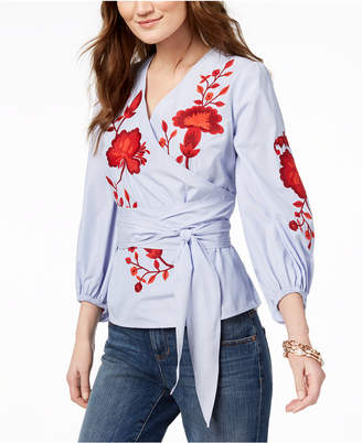 INC International Concepts I.n.c. Petite Embroidered Wrap Shirt, Created for Macy's