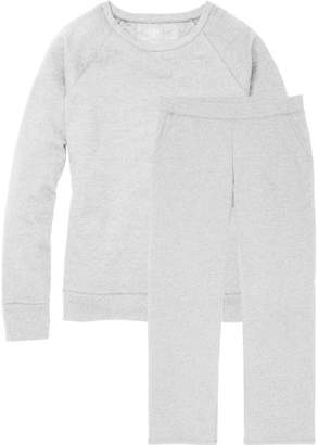 Time and Tru Women's Essential Fleece Crewneck Pullover and Open Bottom Sweatpant (set)
