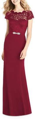 Jenny Packham Bridesmaids Sweetheart Illusion Cap-Sleeve Marquis Lace & Crepe Column Bridesmaids Dress