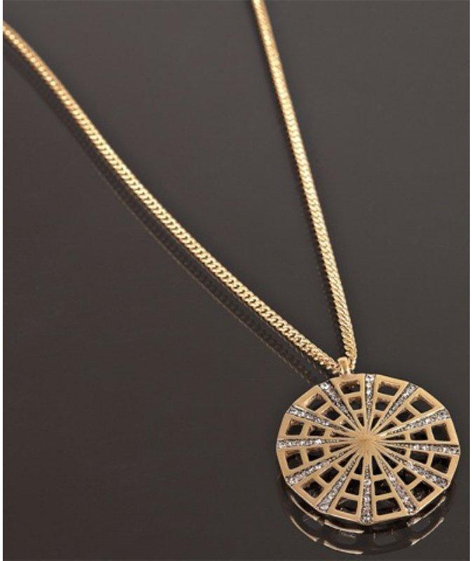 Nicole Miller gold crystal detail medallion pendant necklace