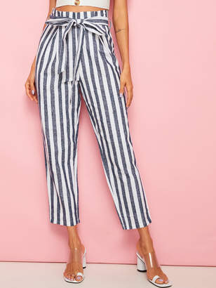 Shein Two Tone Striped Belted Crop Pants