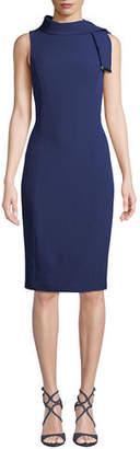 Badgley Mischka Tie-Neck Sleeveless Stretch Crepe Dress