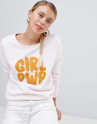 Only Terry girl power print sweatshirt