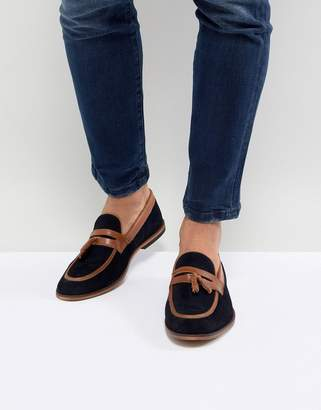 Asos Design Loafers In Navy Suede With Tan Leather Contrast Panels